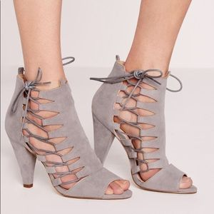 Missguided Grey Suede Sandals